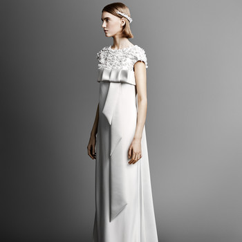 short sleeve viktor rolf sheath wedding dress spring 2019