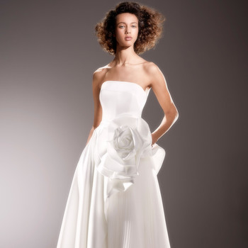 viktor and rolf strapless a-line wedding dress with 3D flower spring 2020