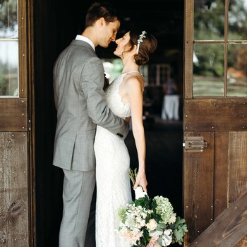wedding couple doorway