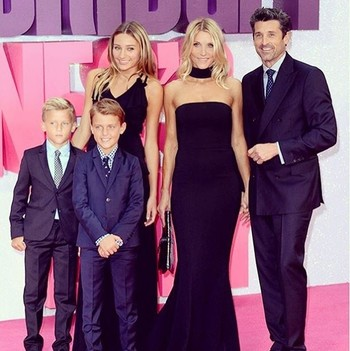 Patrick Dempsey and Jillian Fink with their kids at the premiere of Bridget Jones's Baby in London