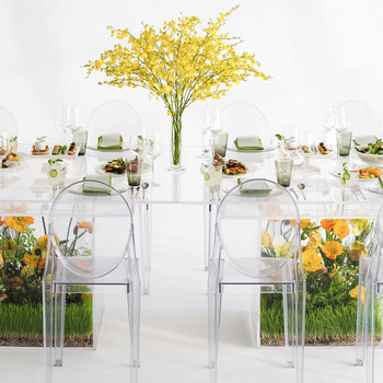 Chris Hessney Spring Shoot Lucite Table with Floral Arrangements in Base