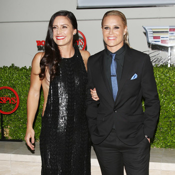 Ali Krieger and Ashlyn Harris at the ESPYS Pre-Party