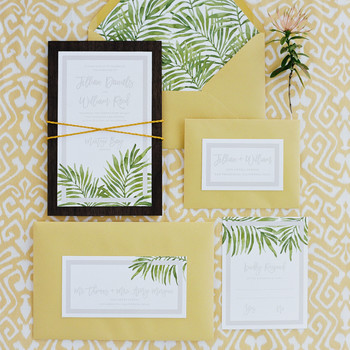 beach wedding invitations palms on paper