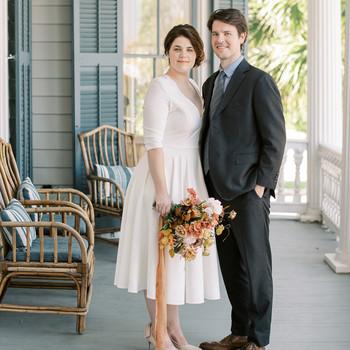 elizabeth scott wedding couple standing on porch