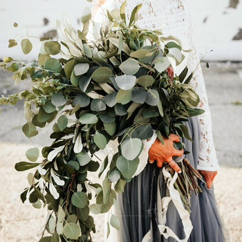 large eucalyptus wedding bouquet