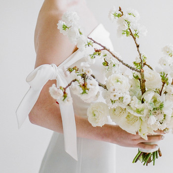 modern wedding bouquet branch of white flowers