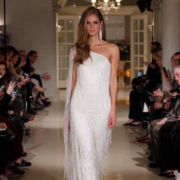 oleg cassini spring 2019 wedding dress one shoulder tassel details