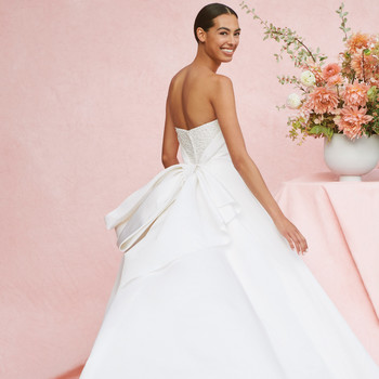 carolina herrera strapless a-line gown with back bow wedding dress fall 2020