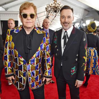 Elton John and David Furnish 2018 Grammy Awards