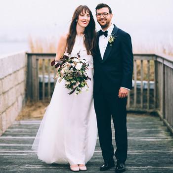wedding couple on deck