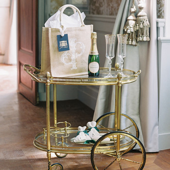 janet patrick wedding welcome bag on cart