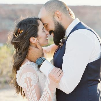 jeanette david wedding desert couple kissing