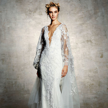marchesa bridal wedding dress deep v long sleeves tulle