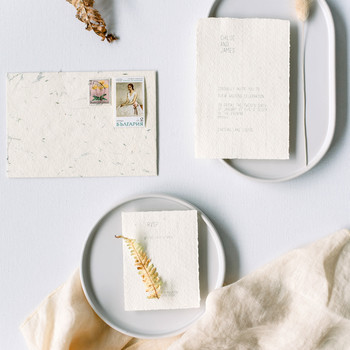 raw edge ivory wedding stationary suite