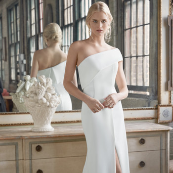 Sareh Nouri one shoulder side slit a-line wedding dress fall 2020