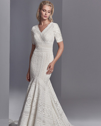 sottero and midgley cooper rose lace quarter sleeve gown