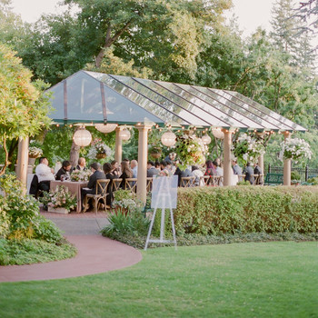 evelyn sam wedding reception exterior during sunset