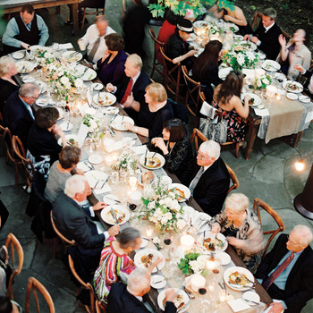 Overhead View of Guests Eating at Reception Tables