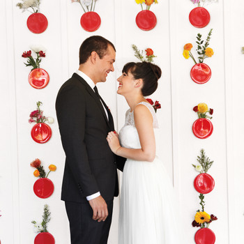 A Bright, Cheery Red-and-White Backyard Wedding in Florida