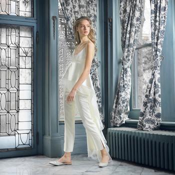 danielle frankel wedding dress spring 2019 spaghetti-strap peplum with pants