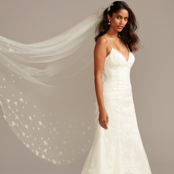 davids bridal deep v-neck spaghetti strap train wedding dress fall 2020