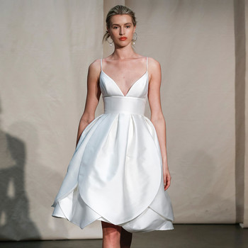 justin alexander short layered spaghetti strap wedding dress spring 2020