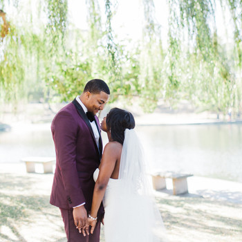 shanice & stephen wedding first look under tree