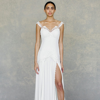 claire pettibone wedding dress spring 2019 off-the-shoulder v-neck slit