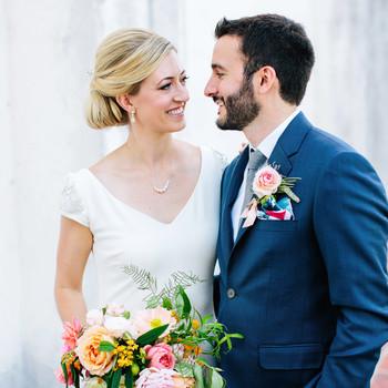 julie anthony real wedding couple close up