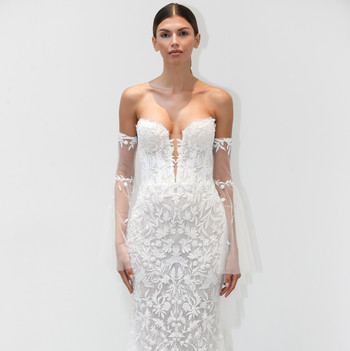 lee petra grebenau fall 2019 lace strapless sheath
