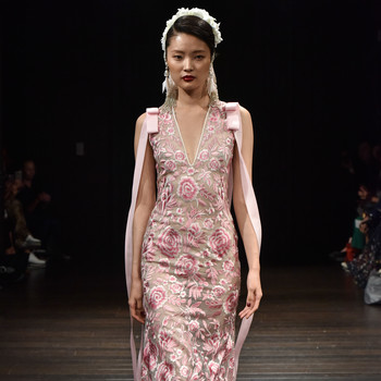 naeem khan wedding dress fall 2018 pink floral v-neck