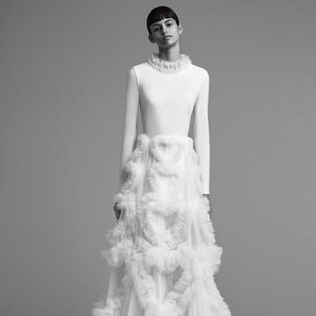 viktor rolf wedding dress fall 2018 tulle high neck long sleeve