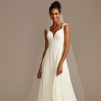 davids bridal cap sleeve flowy a-line wedding dress spring 2021
