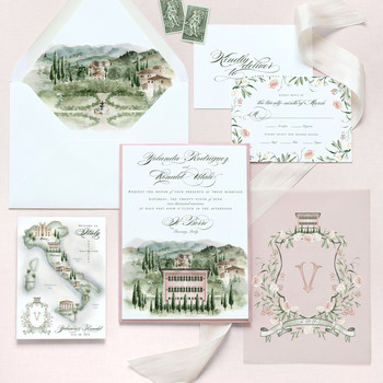 destination inspired wedding invitations painting