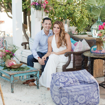 An Island-Inspired, Backyard Wedding Anniversary Dinner