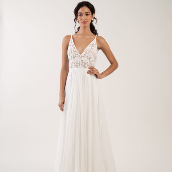 spaghetti strap v-neck sheer lace bodice a-line wedding dress Jenny by Jenny Yoo Spring 2020