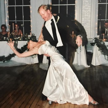 Jim Gaffigan and Jeannie Gaffigan share a dance on their wedding day