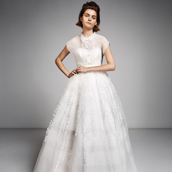 viktor rolf marriage fall 2019 button down short sleeve a-line gown with ruffles