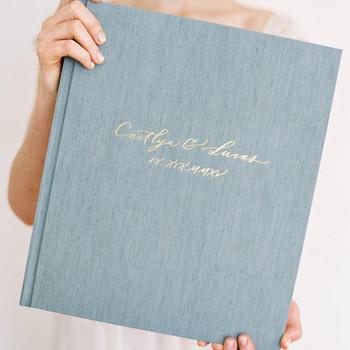 wedding photo album book high quality linen cover foil stamp
