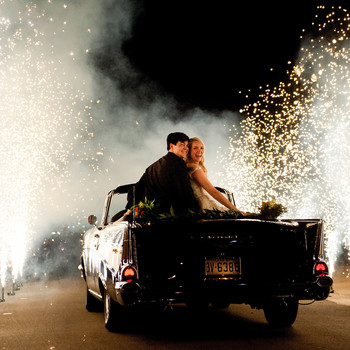 wedding exits sparklers drive away
