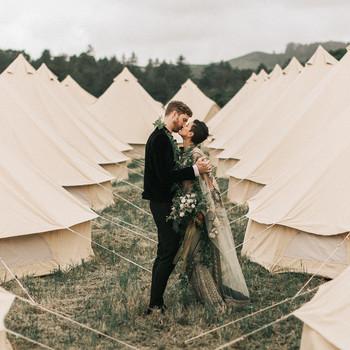 zai phil camping wedding couple tents kiss