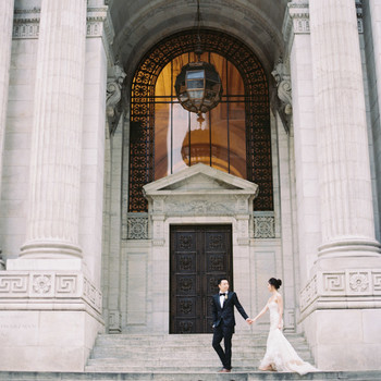 couple on new york public library steps