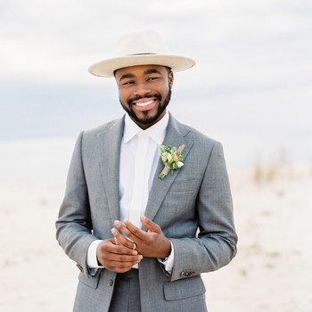 cool groom accessories gray blue suit hat