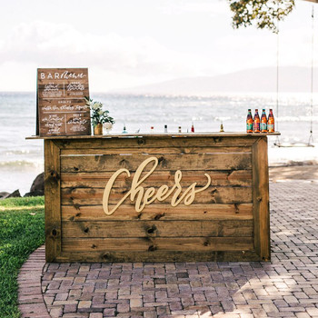 wedding bar sign wooden cheers menu water tree swing