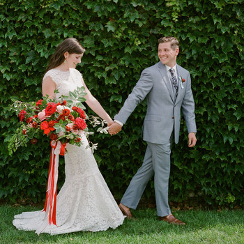 colleen stephen newport wedding couple holding hands