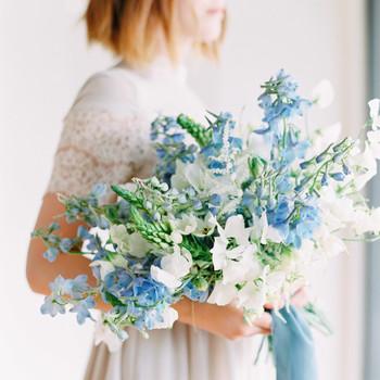 Delphinium filled wedding bouquet