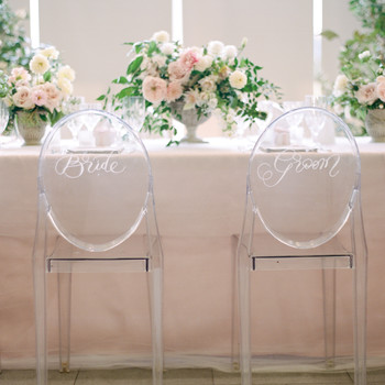 texas wedding clear bride groom chairs