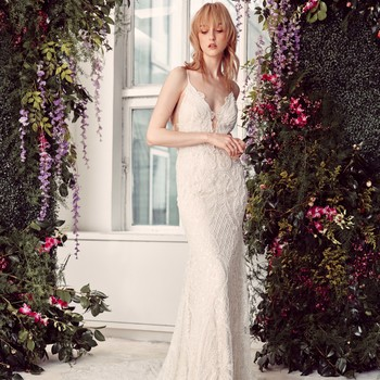 spaghetti strap deep v-neck lace semi mermaid wedding dress Rivini by Rita Vinieris Spring 2020