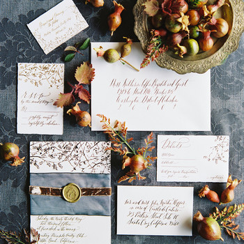rustic wedding invitations with autumnal accents