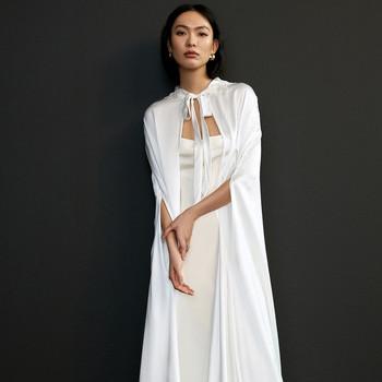 savannah miller long cape a-line wedding dress spring 2021